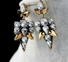 Load image into Gallery viewer, Black x Cystal x Gold Earrings