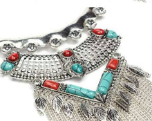 Load image into Gallery viewer, Crystal Turquoise x Orange Necklace