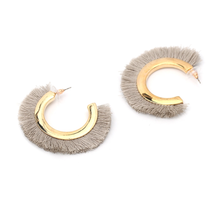 Load image into Gallery viewer, Gold X Grey Fringe Earrings