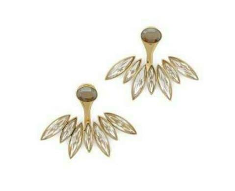 Beige Flower Double Size Earrings