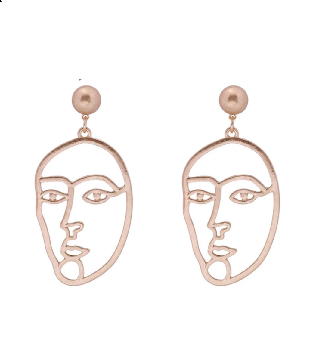Faces Gold Earrings