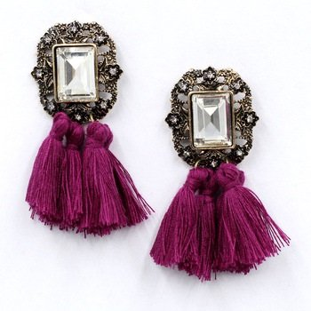 Purple Tassel Baroque Earrings