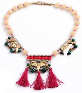Beads x Tassel Red and Green Necklace