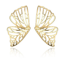 Load image into Gallery viewer, Big Butterfly Gold Earrings