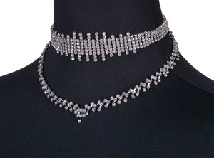 Double Layers Crystal Choker