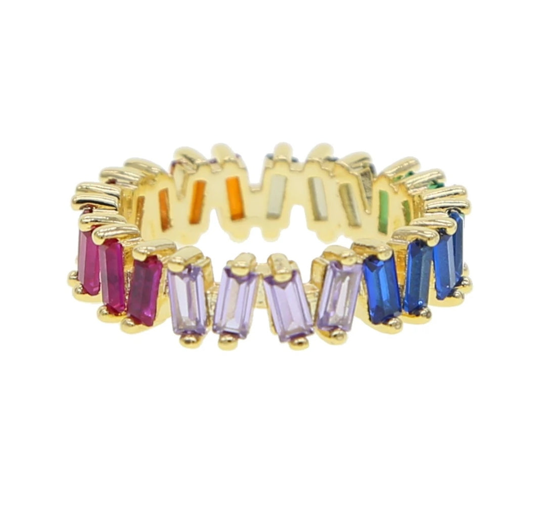 Rainbow Mini Baguette Ring