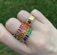 Load image into Gallery viewer, Rainbow Mini Baguette Ring