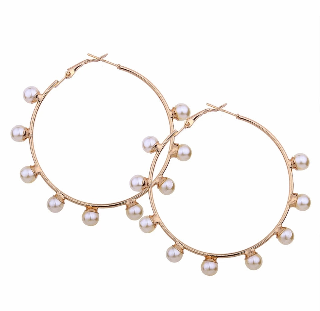 Pearls Border Hoops Earrings