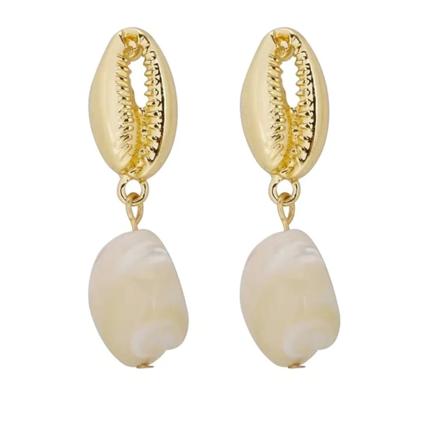 Gold Cowrie Drop Earrings
