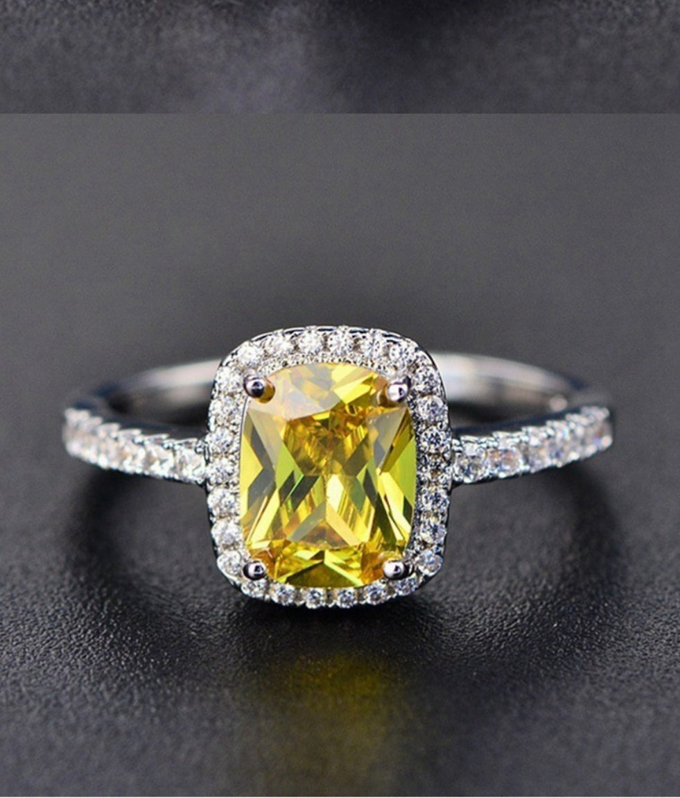 Yellow Mini Square Crystal Ring