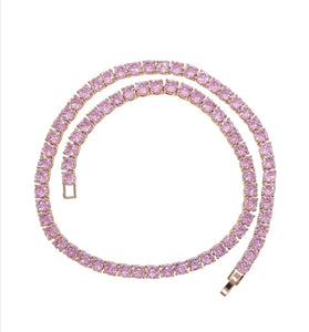 Pinky Tennis Necklace