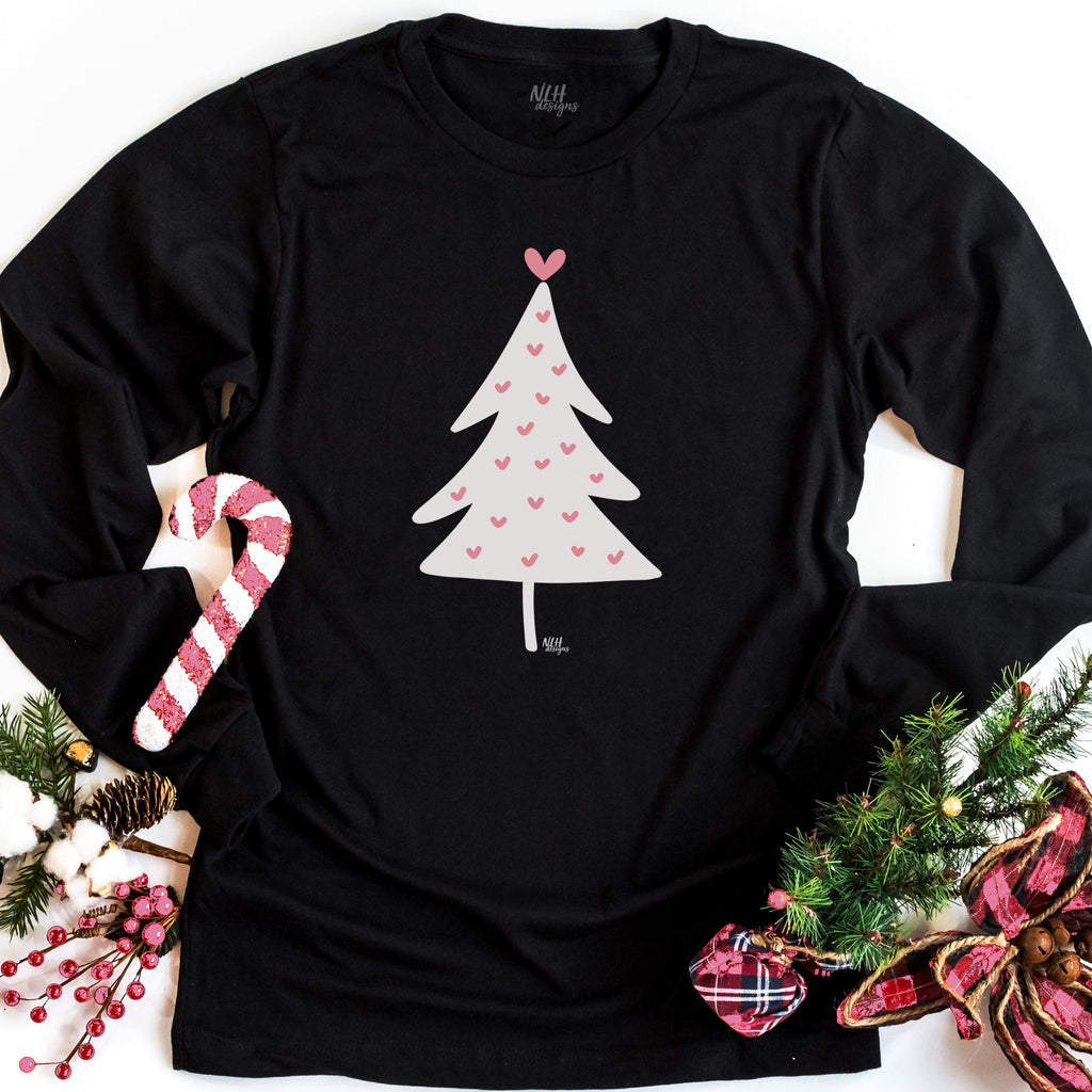 Pink Hearts Christmas Tree Long Sleeve Tee