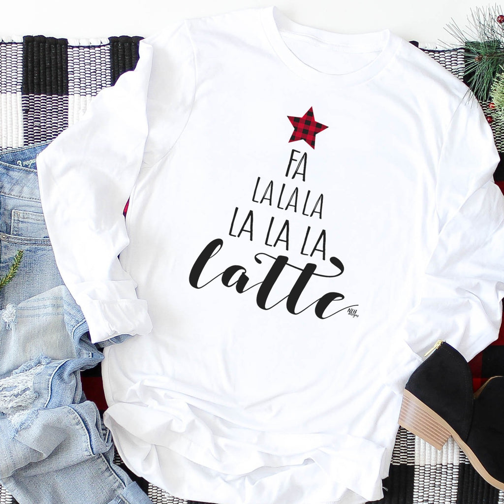 FA LA LA LA LATTE Christmas Tree Comfort Colors Long Sleeve Tee