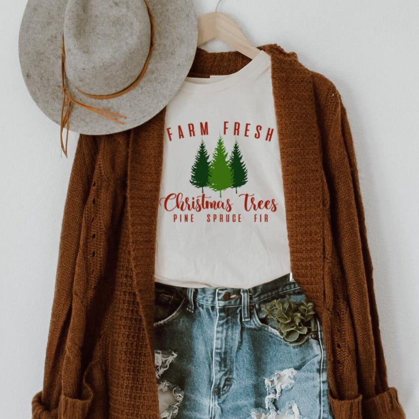 Farm Fresh Christmas Trees Comfort Colors Long Sleeve Tee
