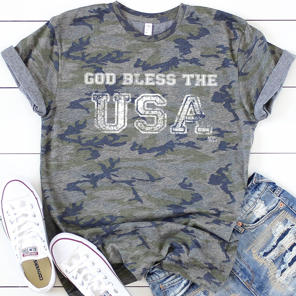 God Bless The USA Camo Short Sleeve T-Shirt