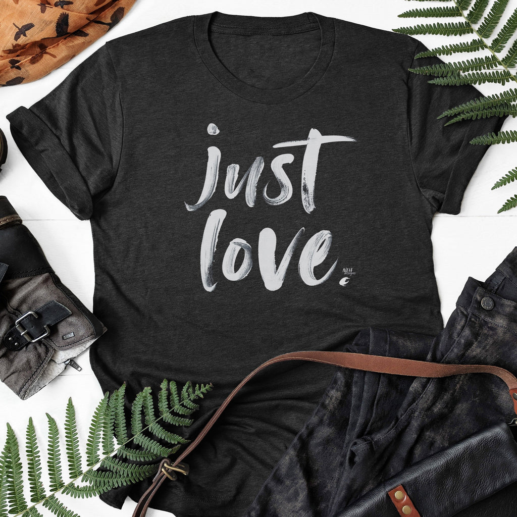 Just Love on Black Heather Short Sleeve T-Shirt