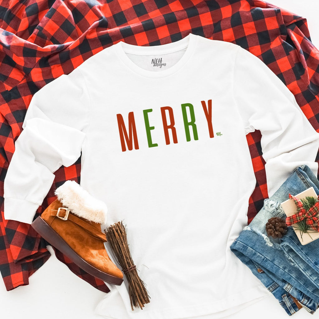 MERRY Christmas Comfort Colors Long Sleeve Tee