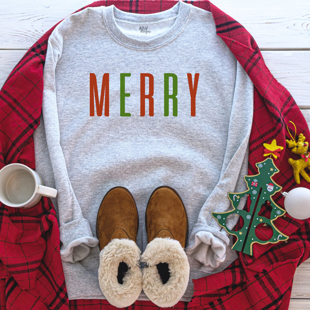 MERRY Christmas Grey Long Sleeve Sweatshirt