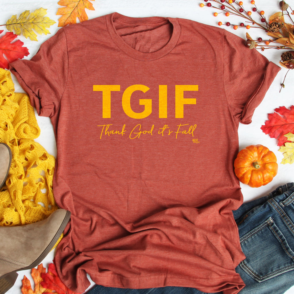 TGIF Thank God It's FALL Short Sleeve T-Shirt
