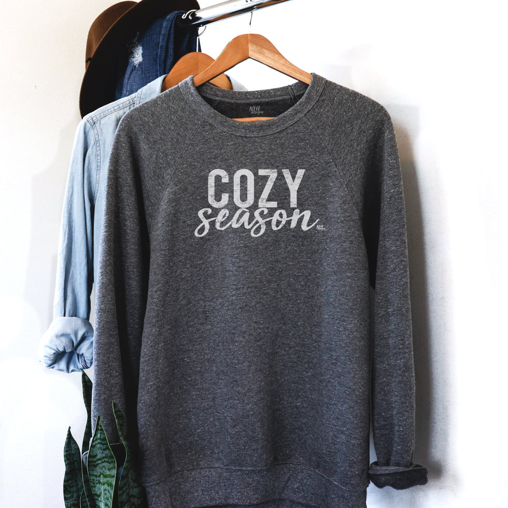 Cozy Season White on Gray Long Sleeve Raglan Sponge Fleece Sweatshirt