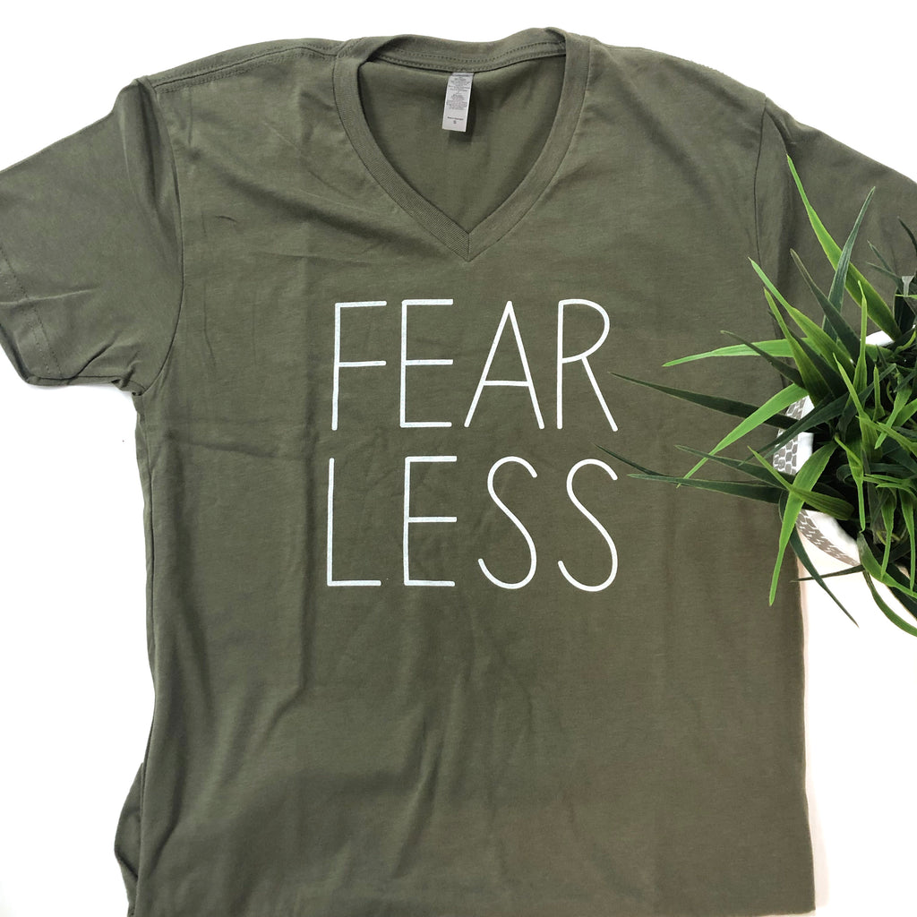 Fear Less - Olive Green Short-Sleeve T-Shirt