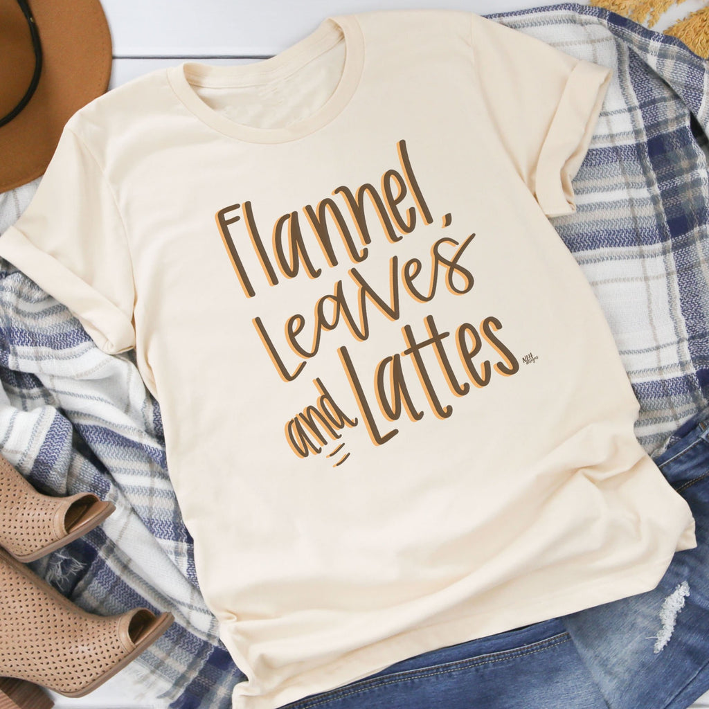 Flannel, Leaves and Lattes Cream Short Sleeve Tee