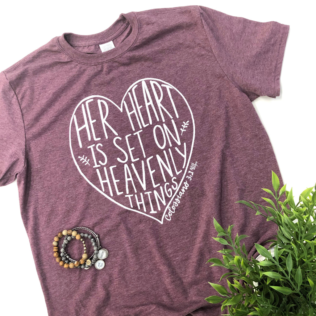 Her Heart Is Set On Heavenly Things Short Sleeve T-Shirt