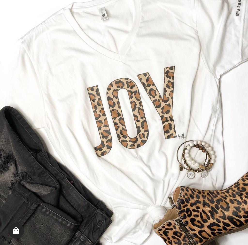 JOY Leopard Animal Print Short Sleeve T-Shirt