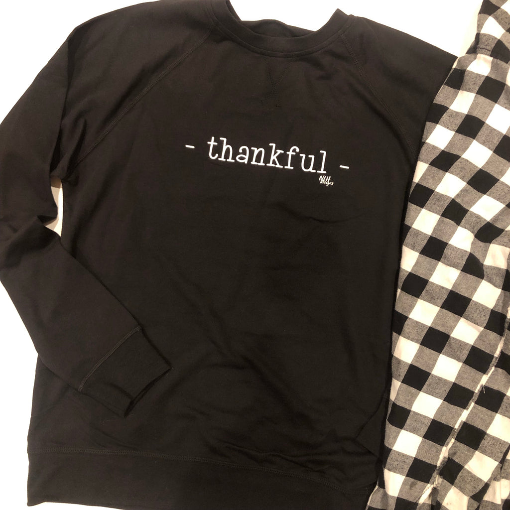 THANKFUL French Terry Raglan Crew Long Sleeve