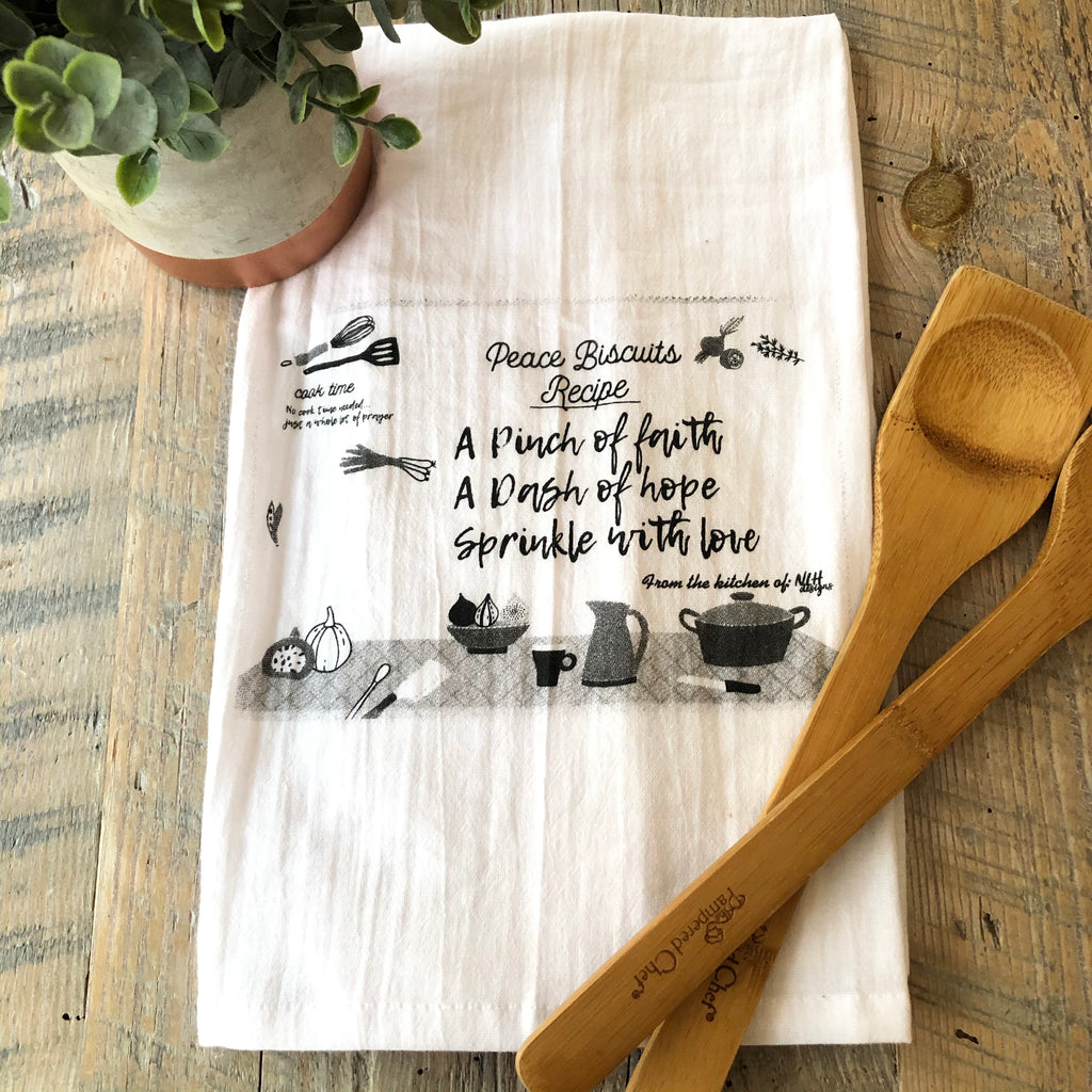 Peace Biscuit Recipe Tea Towel - 6 pack