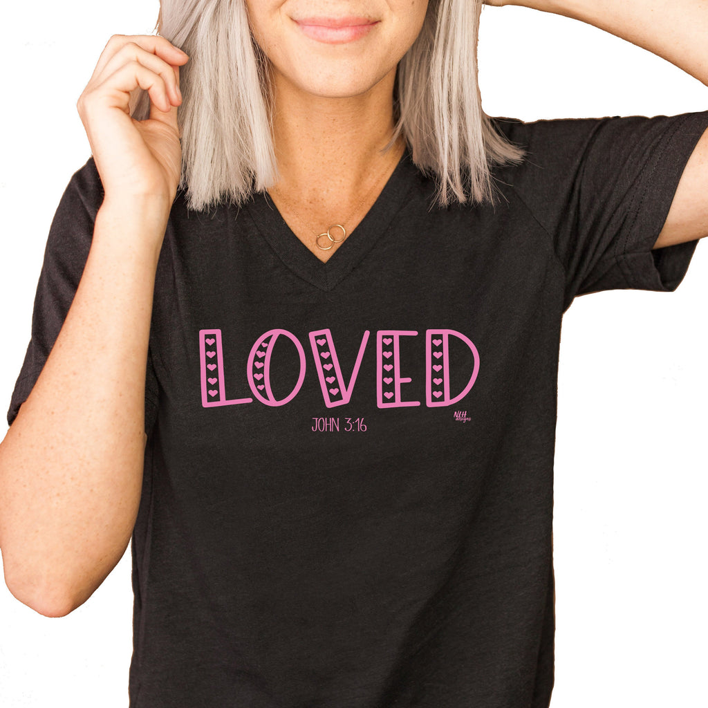 Loved V-Neck Short Sleeve T-Shirt