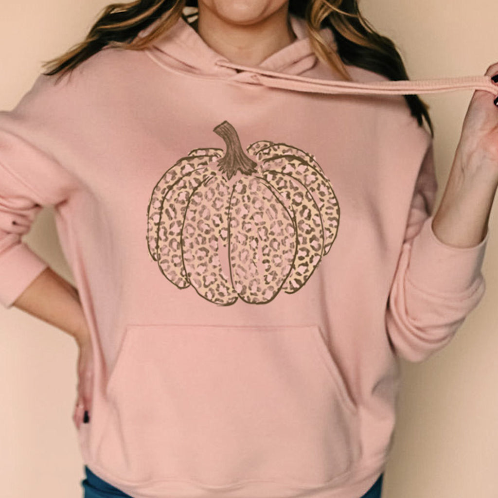 Pumpkin Peach Leopard Sponge Fleece Drop Shoulder Hoodie