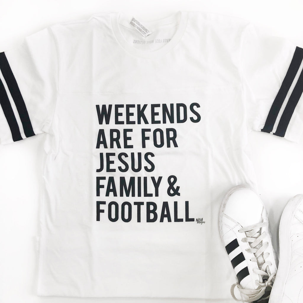 Weekends are for Jesus Family Football Short Sleeve T-Shirt - White