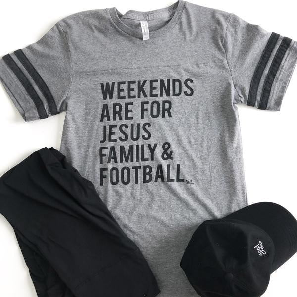 Weekends are for Jesus Family Football Short Sleeve T-Shirt - Gray