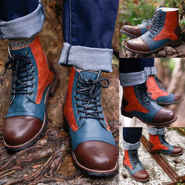 2019 Men Fashion Lace Up Warm Ankle Leather Boots