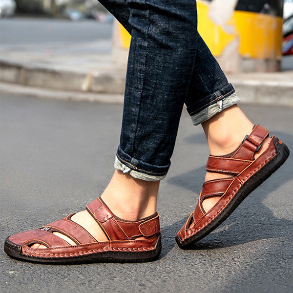 2019 New Plus Size Men Genuine Leather Summer Sandals