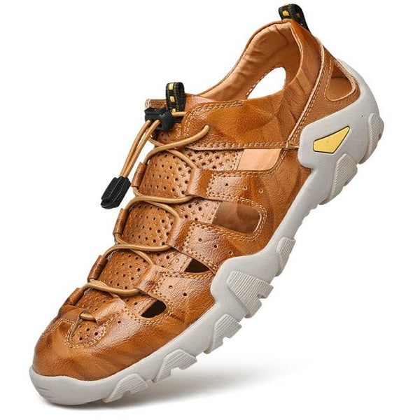 2019 Men Summer Outdoor Soft Genuine Leather Sandals