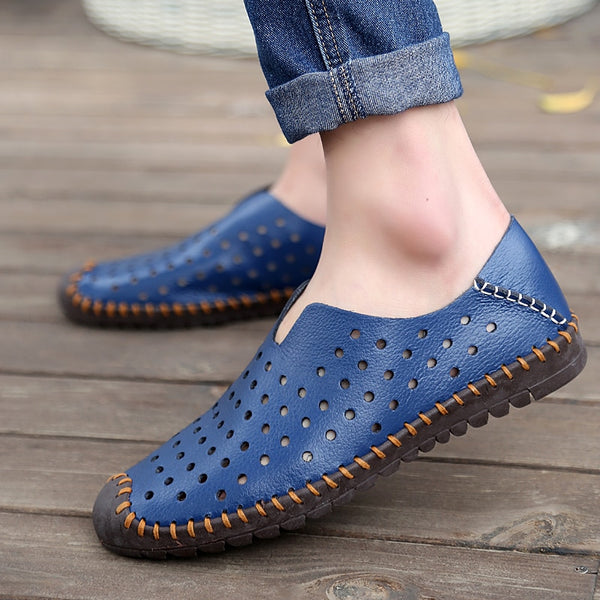 2019 Men shallow solid casual slip on leather shoes