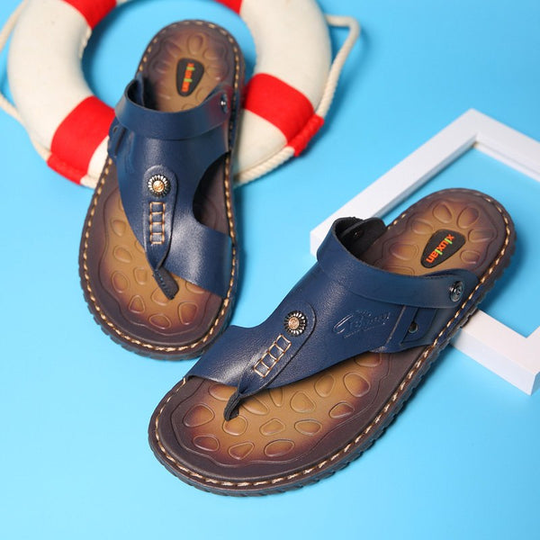 2019 Plus Size Summer Men Casual Beach Leather Slippers