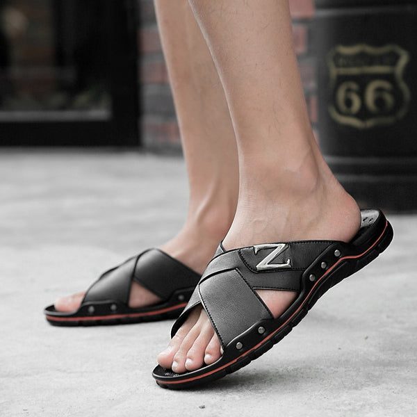 Men Fashion Summer Solid Leather Slippers