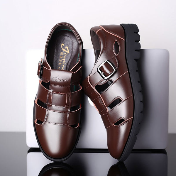 Men Genuine Leather Sandals Shallow Summer Shoes(Extra discount: Buy 2 Got 5% off, 3 Got 10% off)