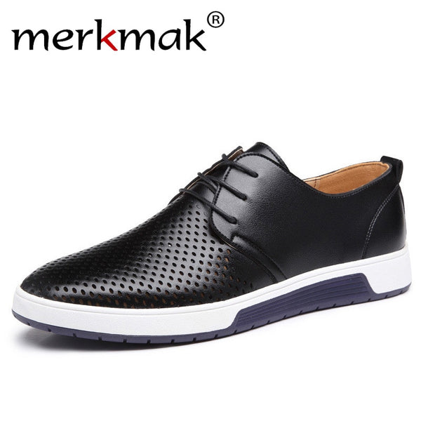 Men Leather Summer Breathable Casual Shoes