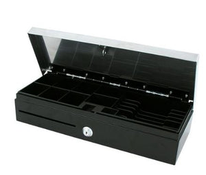 VPOS CASH DRAWER FLIPTOP 6 NOTE 8 COIN 24V BLK