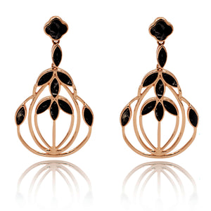 Floral Escape Black Marble Cocktail Earrings