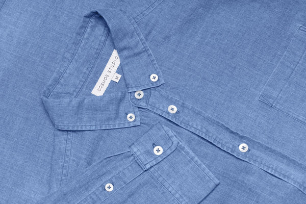 Button Down Poplin Denim Shirt - Navy
