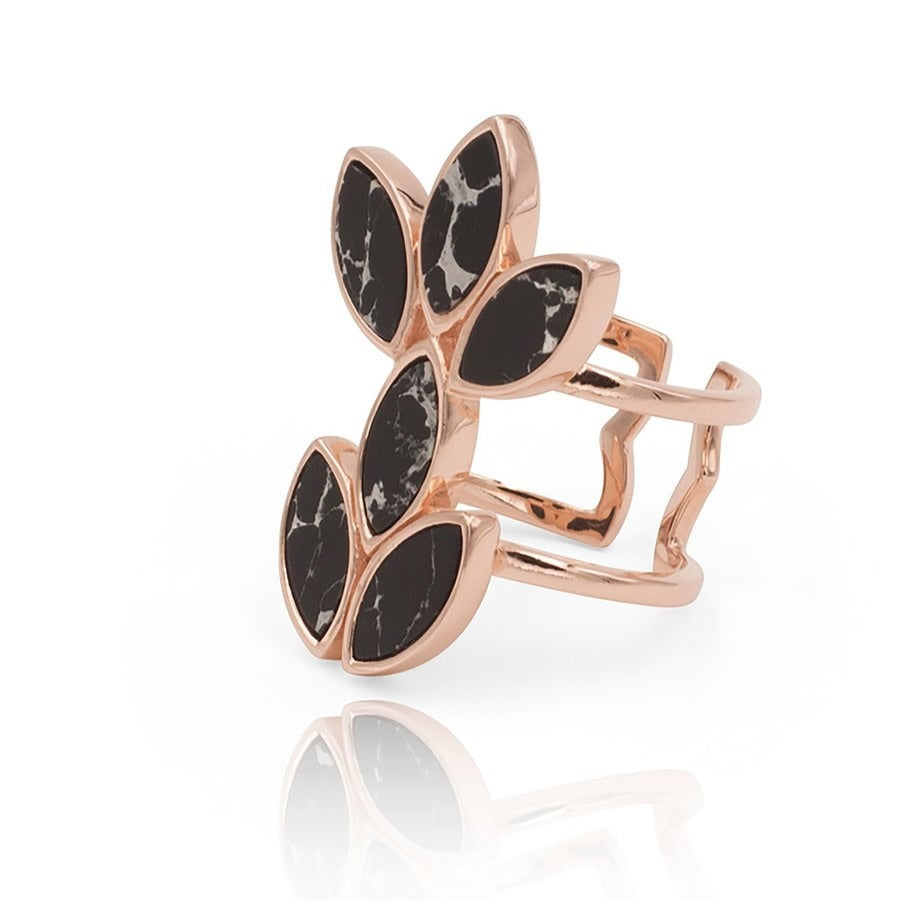 Floral Escape Black Marble Rose Gold Cocktail Ring