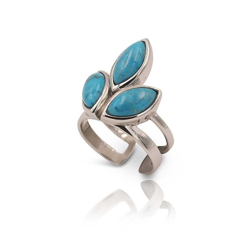 Floral Escape Blue Magnesite Pointer Ring