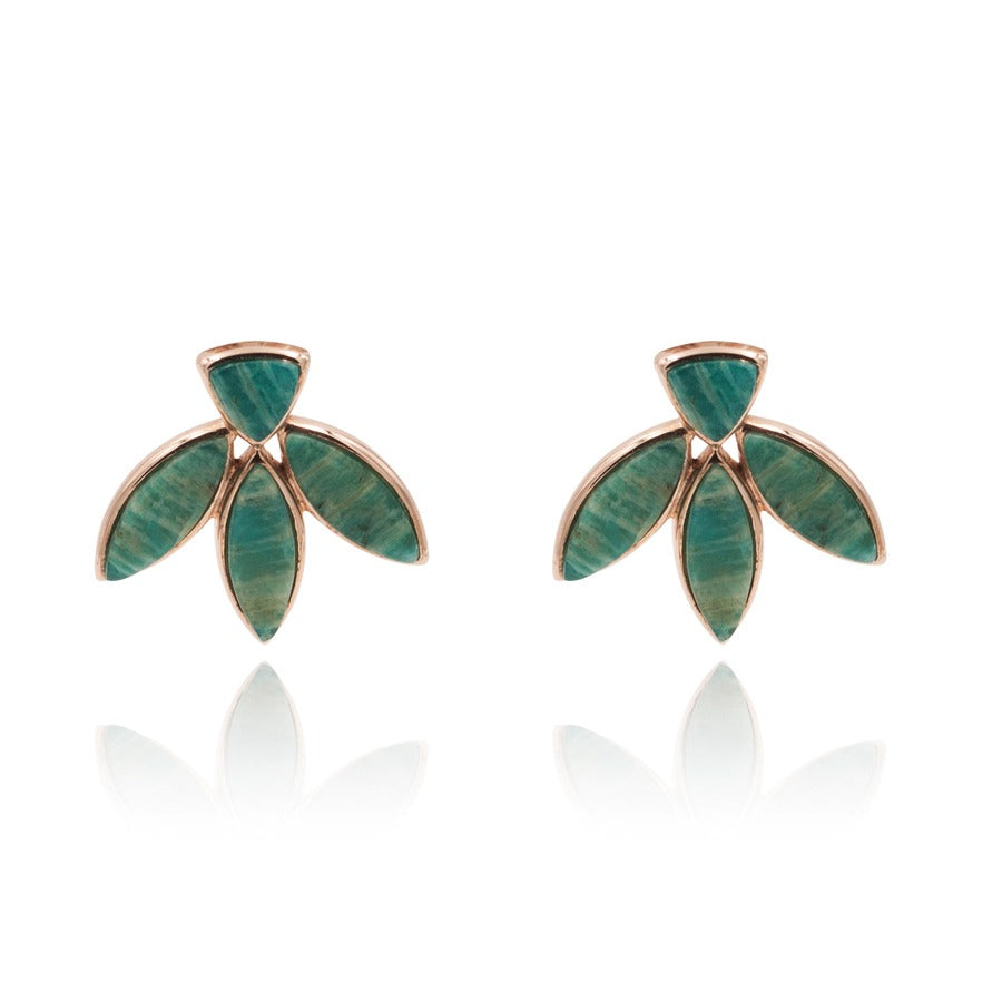 Floral Escape Amazonite Stud Earrings