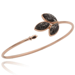 Floral Escape Black Marble Rose Gold Wrap Bracelet