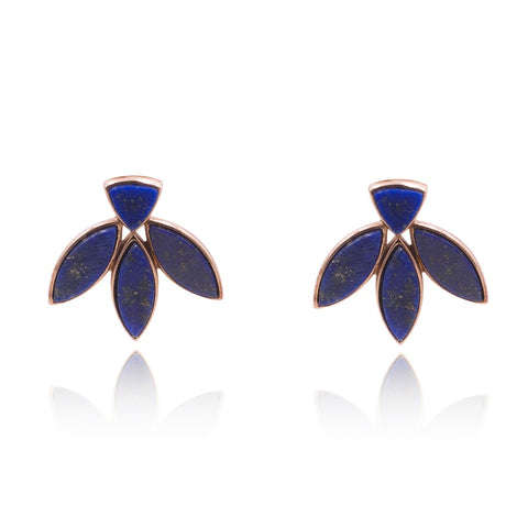 Floral Escape Lapis Lazuli Stud Earrings